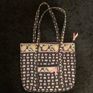 VERA BRADLEY SMALL TOTE IN PINK ELEPHANT
